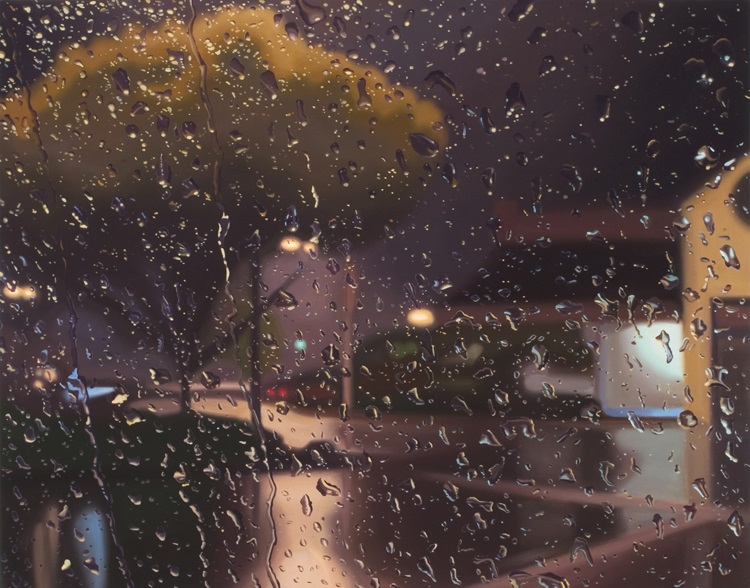 Trace by Gregory Thielker oil painting through car windshield