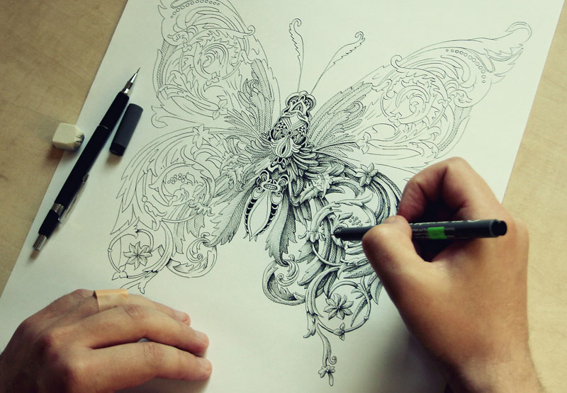 alex konahin ink illustrations 4 Tim Jeffs Draws Incredibly Detailed Lizards Using Pencil Crayons