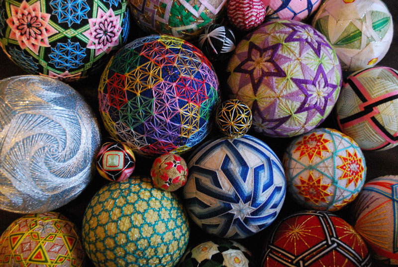 embroidered temari balls japan 1 15 Flower Mandalas by Kathy Klein