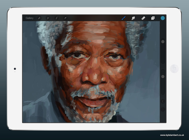 kyle lambert morgan freeman ipad finger painting stage 1 This Was Made with a Finger and 285,000 Brush Strokes... on an iPad