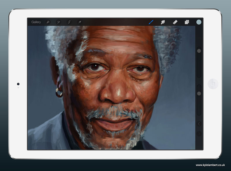 kyle lambert morgan freeman ipad finger painting stage 2 This Was Made with a Finger and 285,000 Brush Strokes... on an iPad