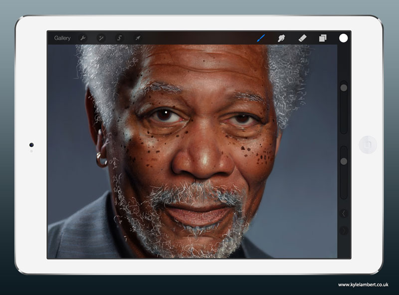 kyle lambert morgan freeman ipad finger painting stage 3 This Was Made with a Finger and 285,000 Brush Strokes... on an iPad