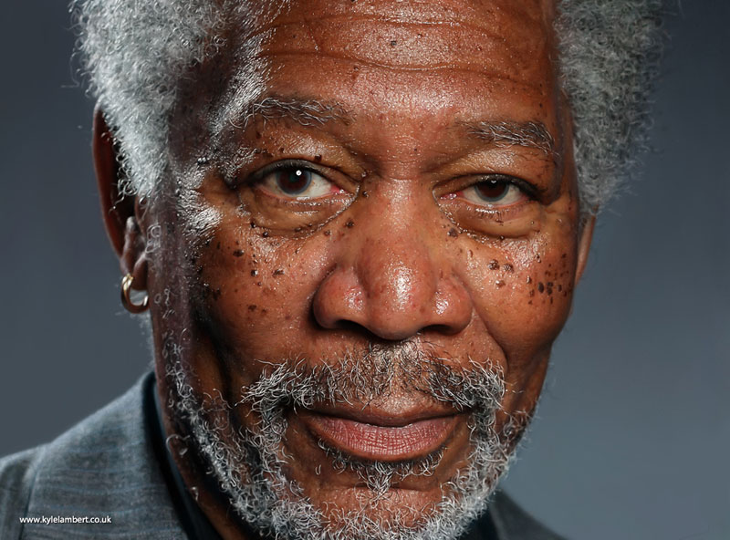 kyle lambert morgan freeman photorealistic ipad painting This Was Made with a Finger and 285,000 Brush Strokes... on an iPad