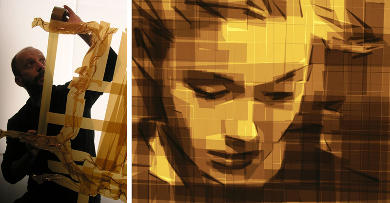 mark khaisman packing tape art Artist Uses PVC Pipes to Knit a Giant Blanket
