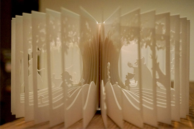 360 story book cutouts by yusuke oono 1 Artist Designs Glow in the Dark Harry Potter Books with Pop Up Illustrations