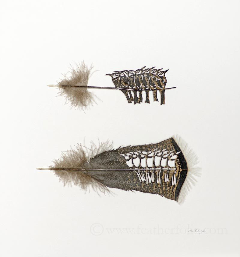 feather cutting art by chris maynard featherfolio 3 Artist Carves Amazing Sculptures out of the Blades of Knives