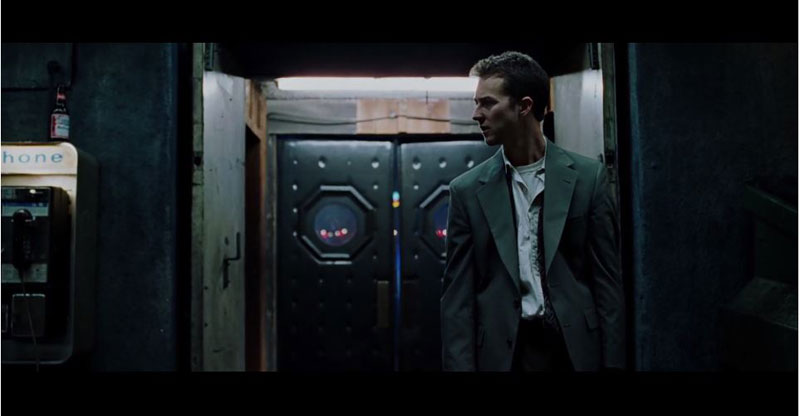 A Classic Scene from Fight Club with Tyler Durden Digitally Removed