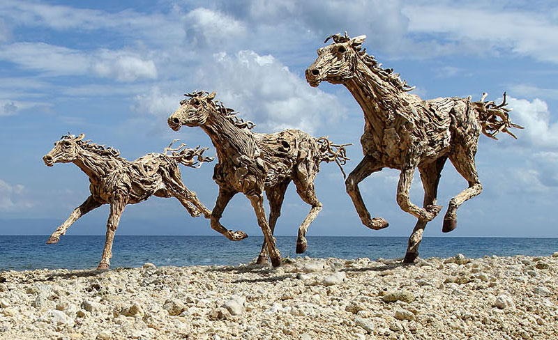 galloping horses made from driftwood by james doran-webb (2)