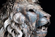 Artist Turns 4000 Pieces of Metal Into 10 ft, 550 pound Lion Sculpture