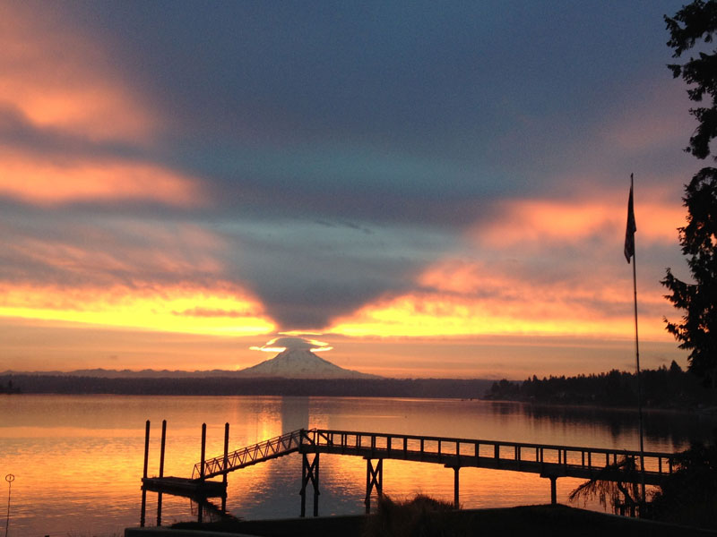 mount rainier casting upward shadow toward sky The Top 100 Pictures of the Day for 2014