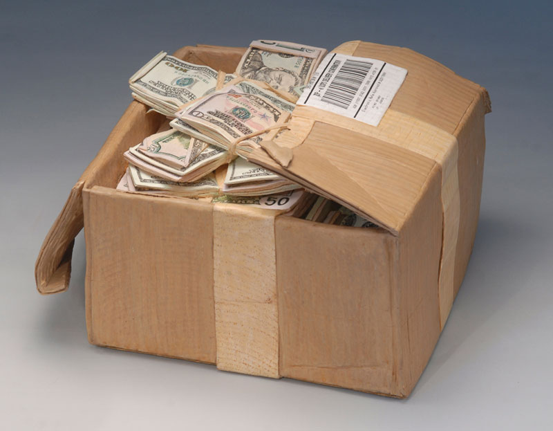 randall rosenthal carves a block of wood into a box of money (19)