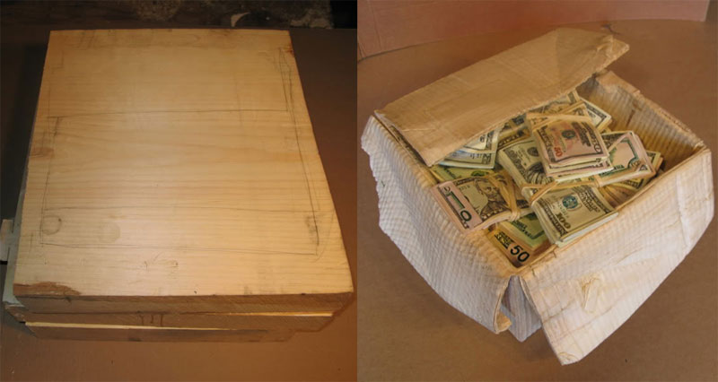randall rosenthall carves a block of wood into a box of money Hand Carved Skulls Into Mother of Pearl Shells