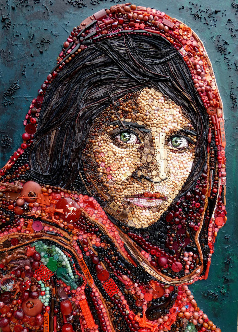 Famous Portraits Recreated from Recycled materials and found Objects by Jane Perkins  (4)