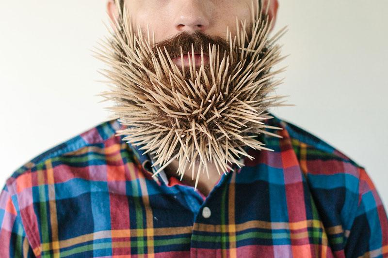 guy sticks random things in his beard instagram tumblr (4)