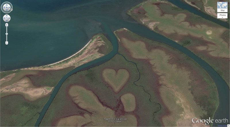 heart shaped land formation strange google earth 50 Amazing Finds on Google Earth