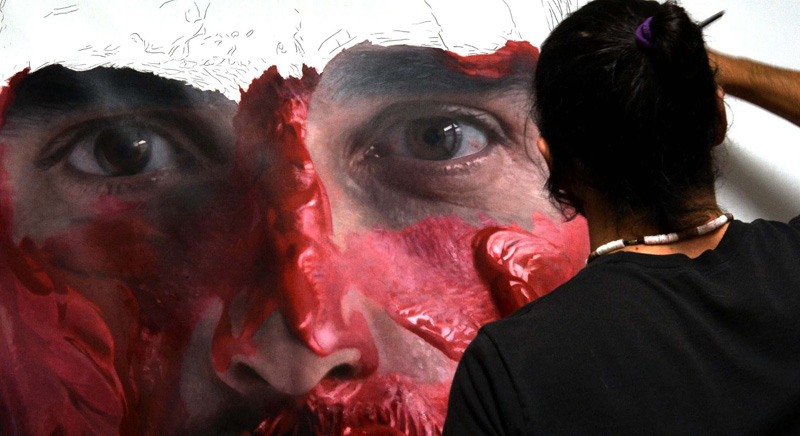 hyperrealistic self portraits paint on face by eloy morales (2)