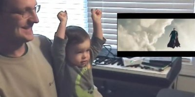 Father and Son Watch Superman's First Flight in Man of Steel. Awesomeness Ensues