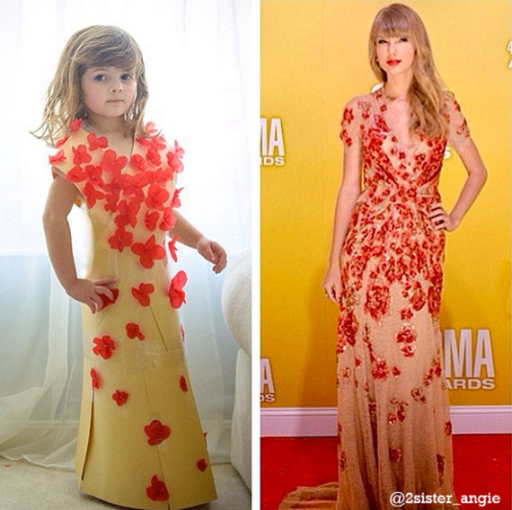 Mother and Daughter Recreate Paper Versions of Dresses Worn by Celebs (3)