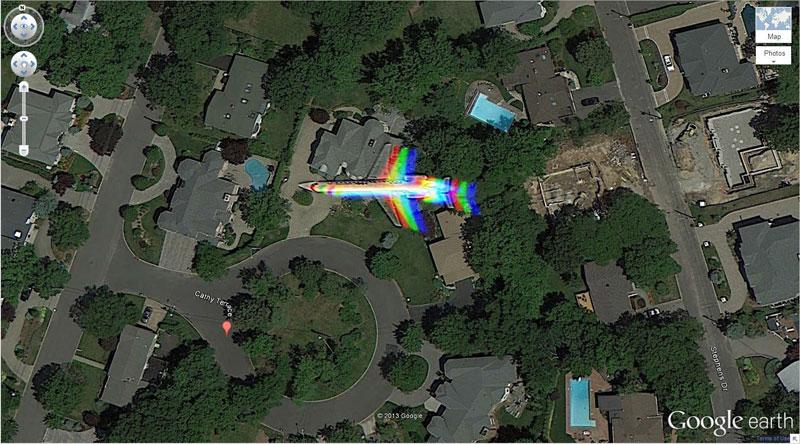 rainbow plane 50 Amazing Finds on Google Earth