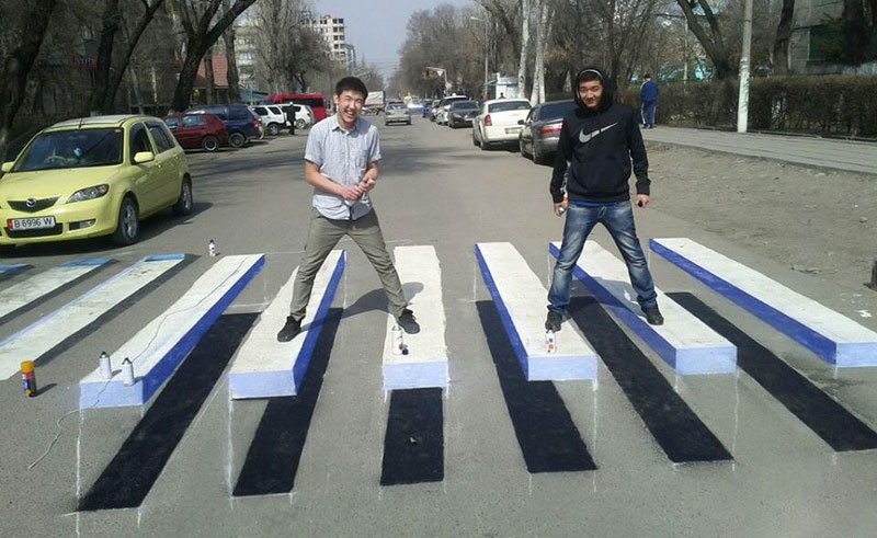 3d crosswalk street art kyrgyzstan The Top 25 Pictures of the Day of 2014