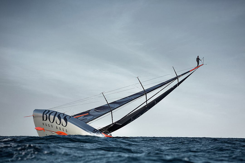 alex thomson mast walk top of sail Picture of the Day: The Mast Walk