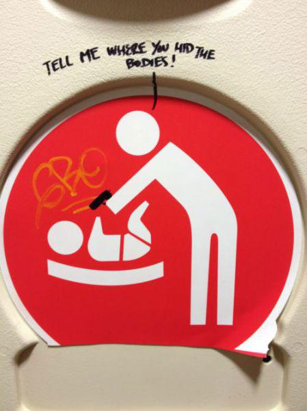 baby changing sign graffiti