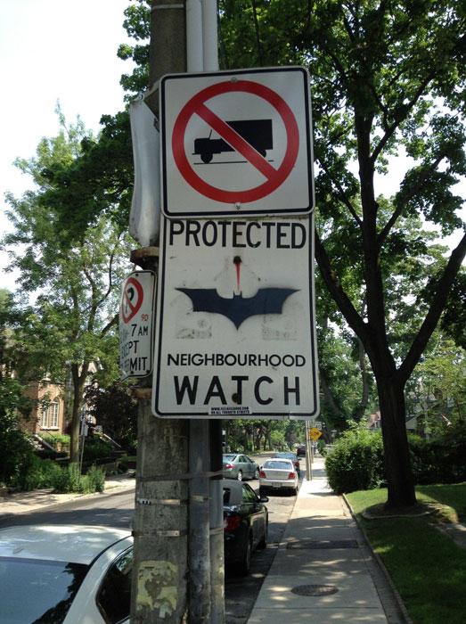 batman neighborhood watch sign