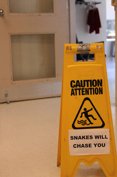 caution wet floor sign snakes