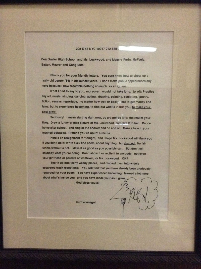 kurt vonnegut letter to students xavier high school 20 Amazing Letters Worth Reading
