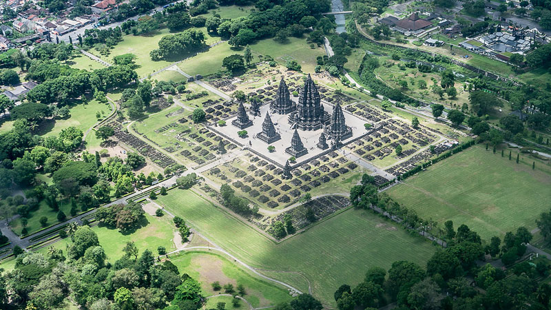 prambanan temple aerial from an airplane