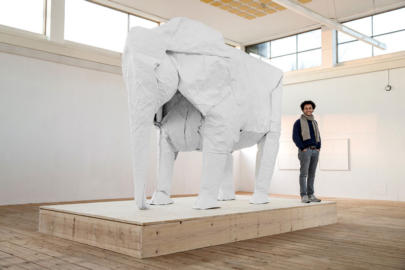 sipho mabona folds a life sized origami white elephant from a single sheet of paper (10)