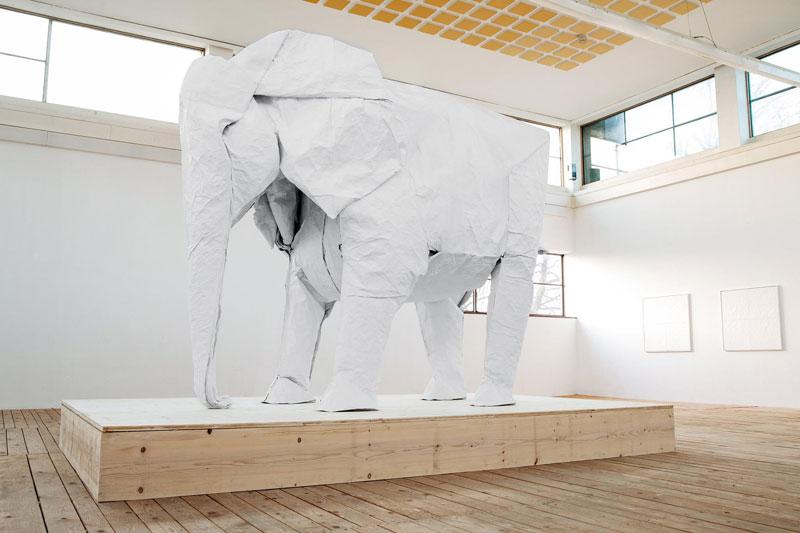 sipho mabona folds a life sized origami white elephant from a single sheet of paper 2 Geometric 3D Paper Masks by Steve Wintercroft