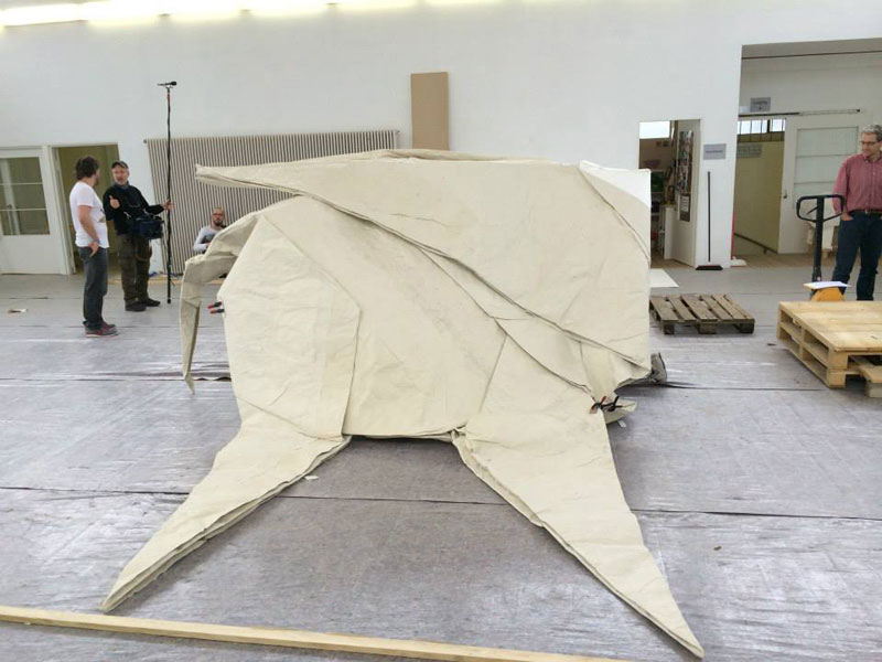 sipho mabona folds a life sized origami white elephant from a single sheet of paper (3)