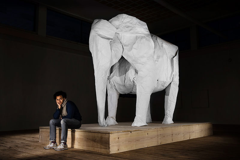 sipho mabona folds a life sized origami white elephant from a single sheet of paper 7 Toilet Paper Rolls Squished Into Faces by Junior Fritz Jacquet