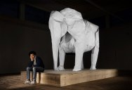 A Life-Size Origami Elephant Folded from a Single Sheet of 50 x 50 ft Paper