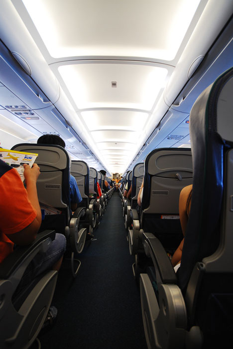 the aisle seat of an airplane