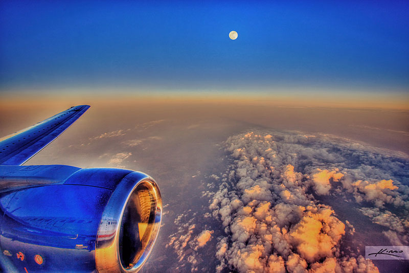 the moon from an airplane