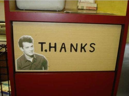 tom hanks thanks garbage sign funny