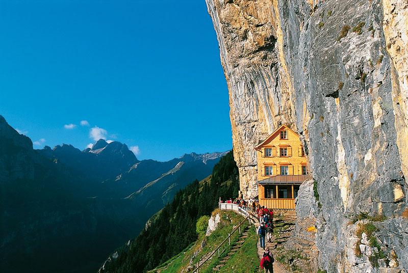 Berggasthaus Aescher cliff side restaurant switzerland