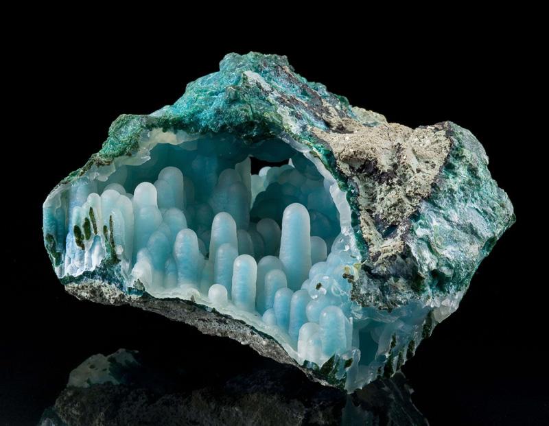 Chalcedony on Chrysocolla in malachite diglet super mario mineral (1)