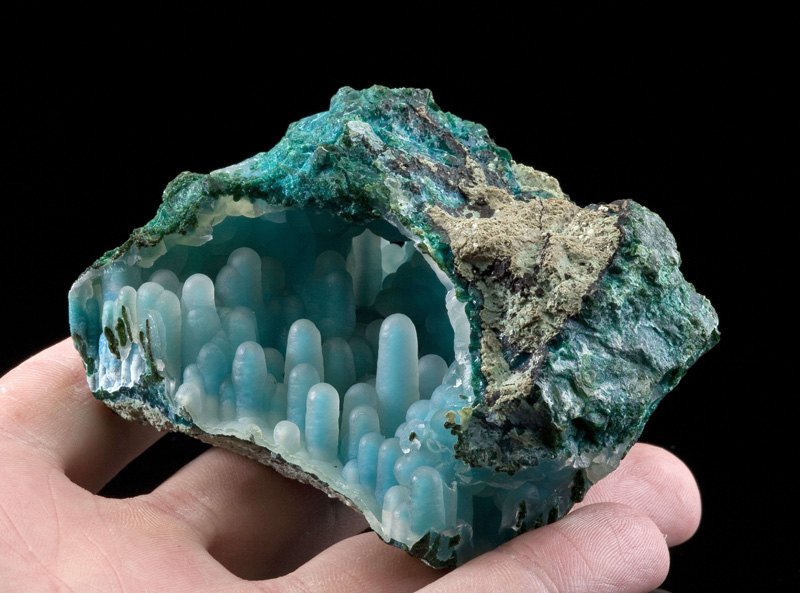 Chalcedony on Chrysocolla in malachite diglet super mario mineral (5)