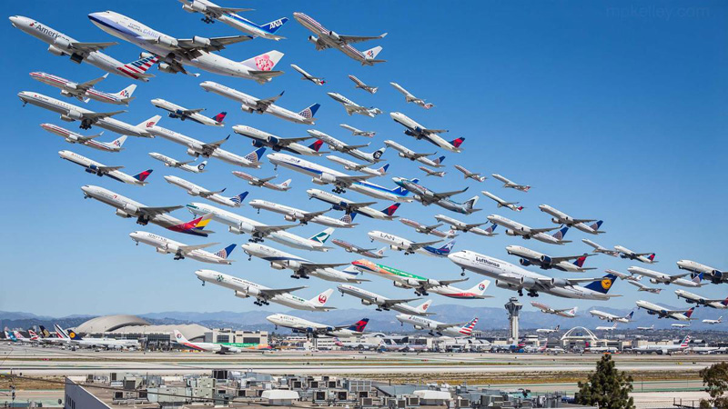 Eight Hour of Takeoffs at LAX COMPOSITE BY MIKE KELLEY