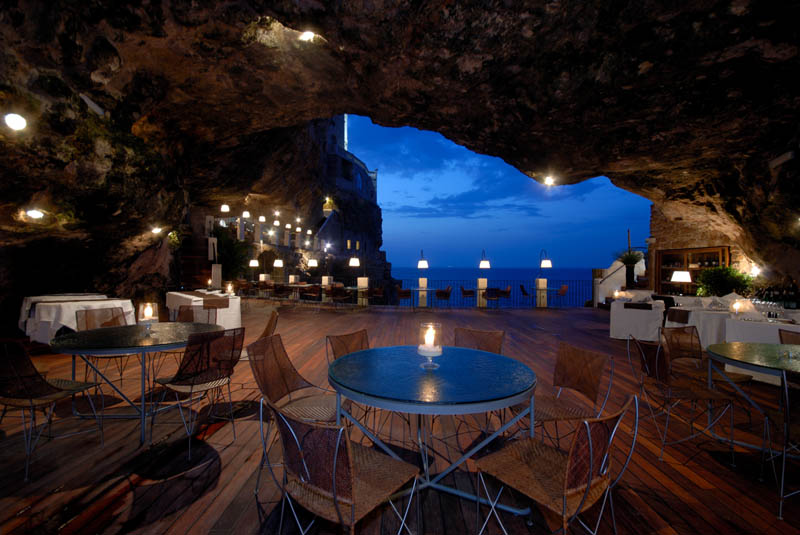 restaurant inside a cave cavern itlay grotta palazzese 2 18 Restaurants In Unforgettable Settings