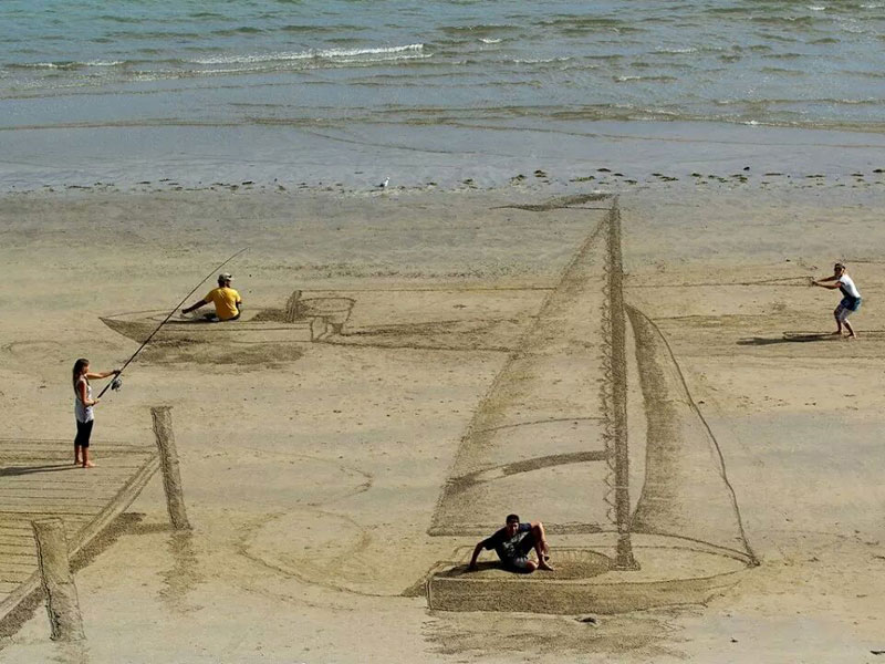 3d beach art by jamie harkins 1 Its Hard to Believe this Notepad Art is Two Dimensional