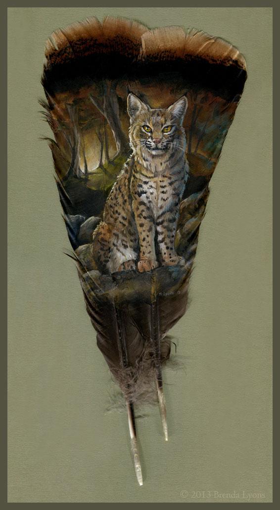 animals painted onto bird feathers by brenda lyons falcon moon studio (1)