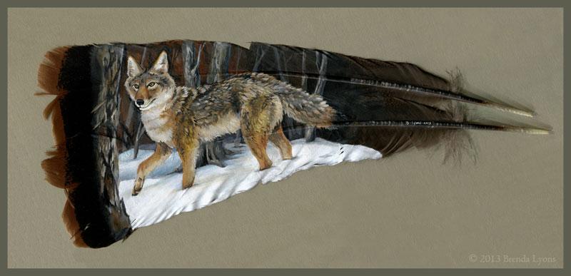 animals painted onto bird feathers by brenda lyons falcon moon studio (2)