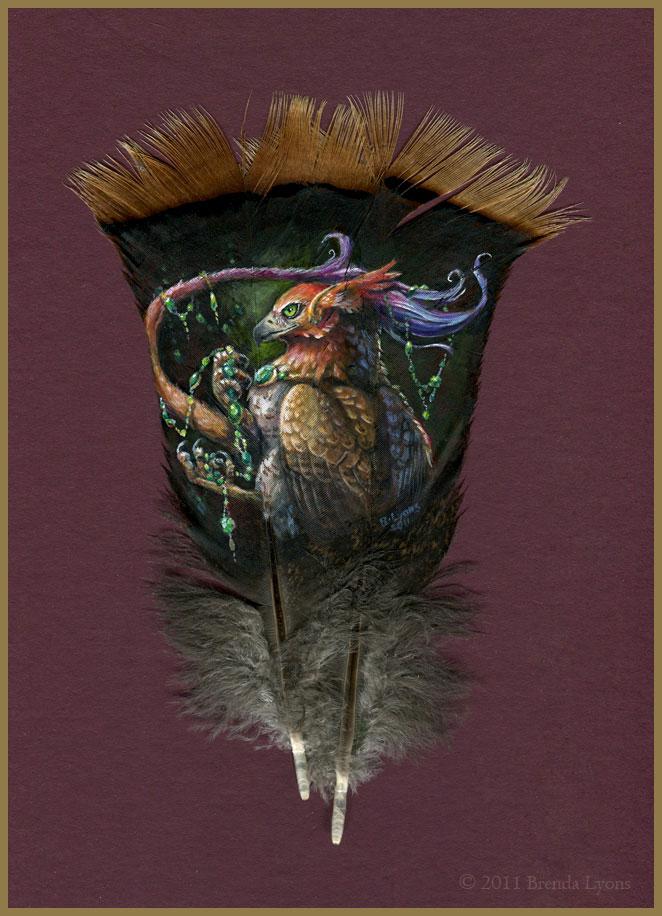 animals painted onto bird feathers by brenda lyons falcon moon studio (3)