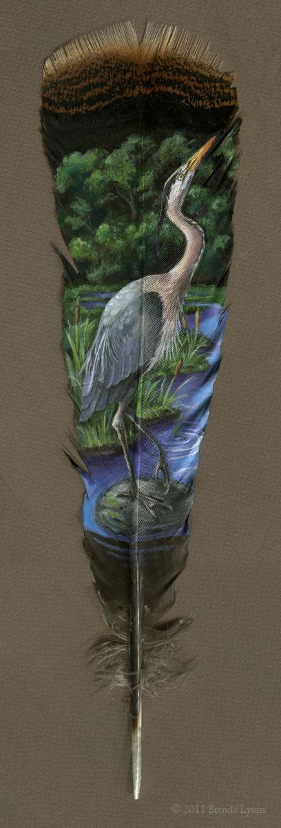 animals painted onto bird feathers by brenda lyons falcon moon studio (4)