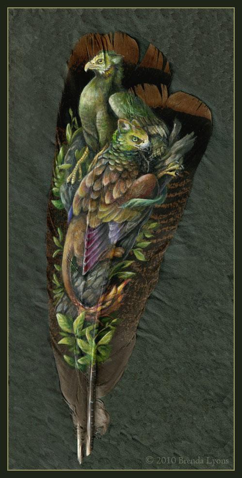 animals painted onto bird feathers by brenda lyons falcon moon studio (5)