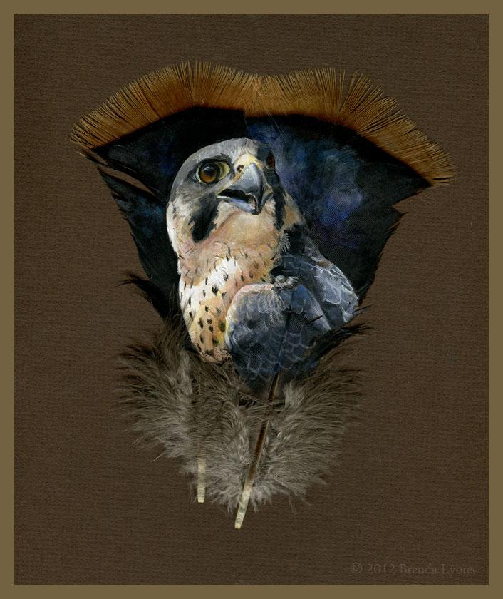 animals painted onto bird feathers by brenda lyons falcon moon studio (6)